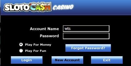 SlotoCash Casino log-in Screen